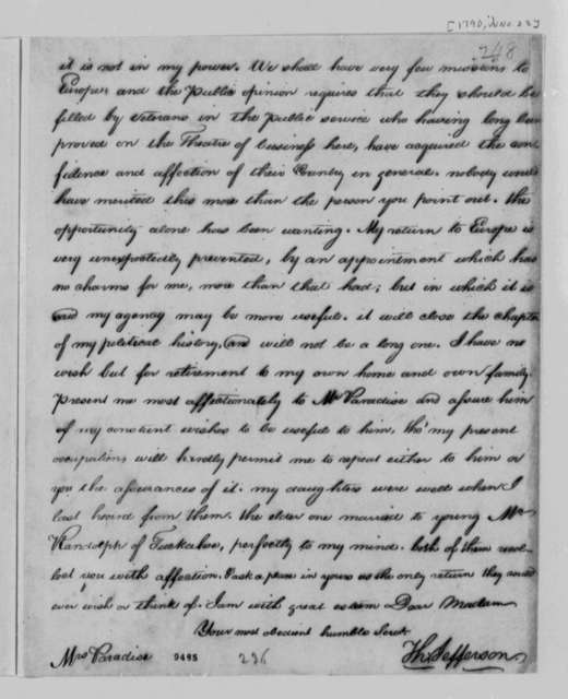 Thomas Jefferson to Lucy Ludwell Paradise, June 23, 1790, with Copy