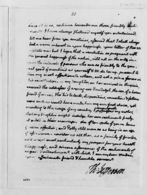 Thomas Jefferson to Madame de Corny, April 2, 1790