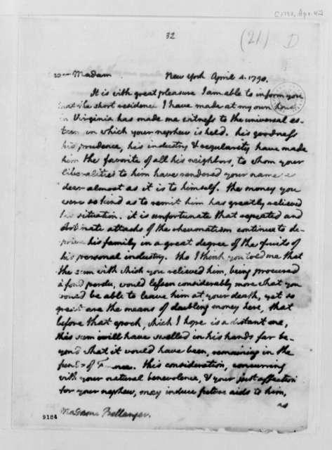 Thomas Jefferson to Madame Plumard de Bellanger, April 4, 1790