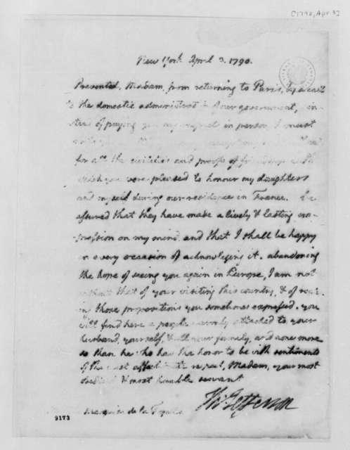 Thomas Jefferson to Marie Joseph Paul Yves Roch Gilbert du Motier, Marquis de Lafayette, April 3, 1790