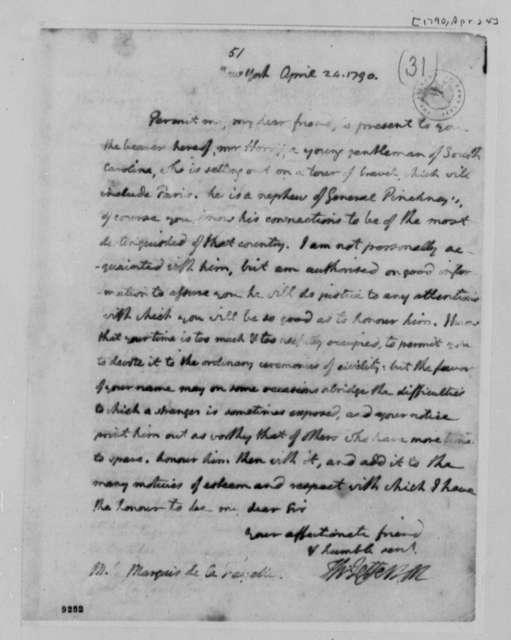 Thomas Jefferson to Marie Joseph Paul Yves Roch Gilbert du Motier, Marquis de Lafayette, April 24, 1790