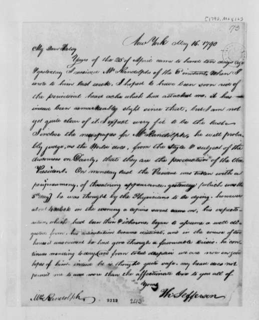Thomas Jefferson to Martha Jefferson Randolph, May 16, 1790