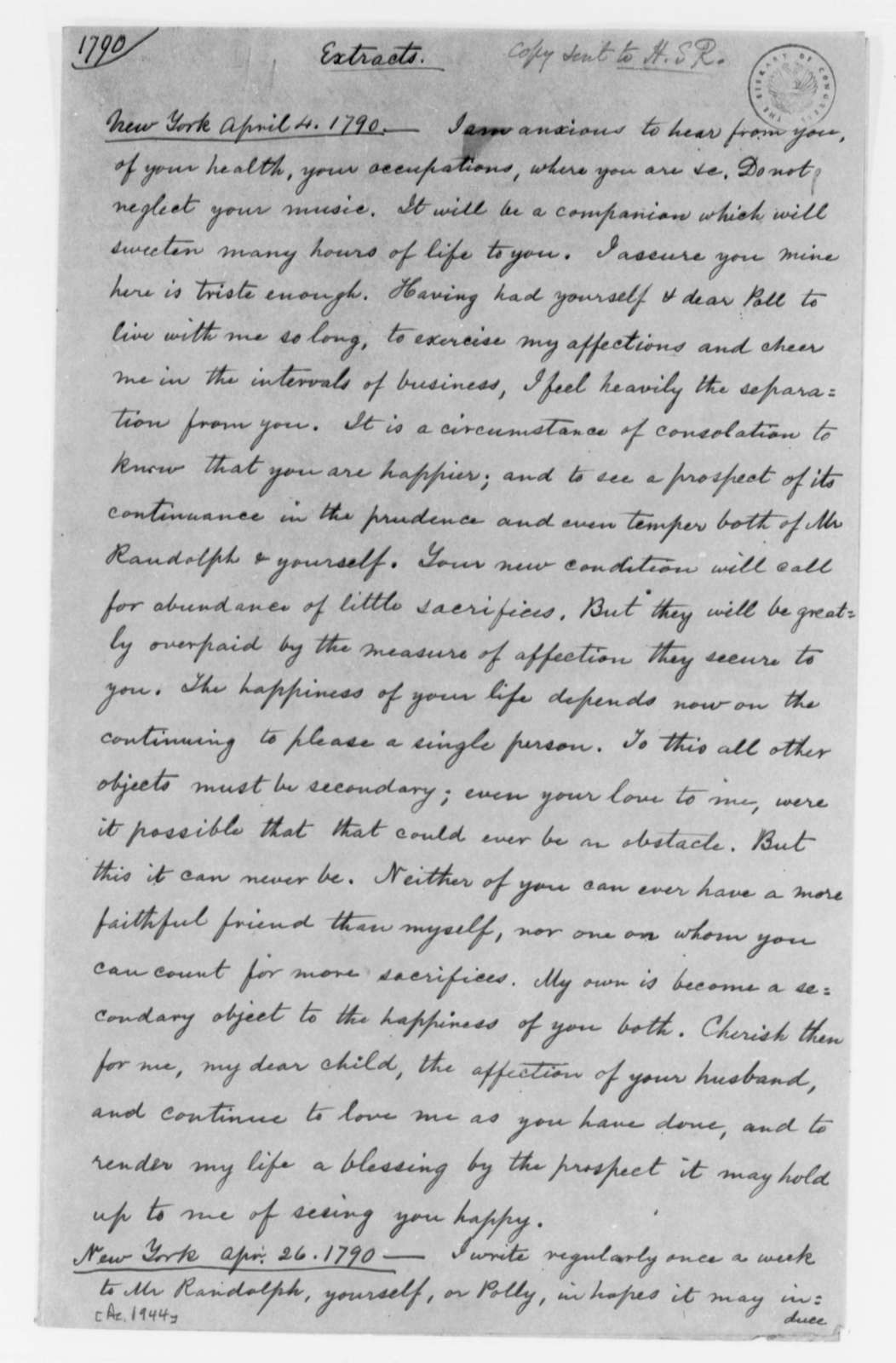 Thomas Jefferson to Martha Randolph, April 1790, Extracts from Letters