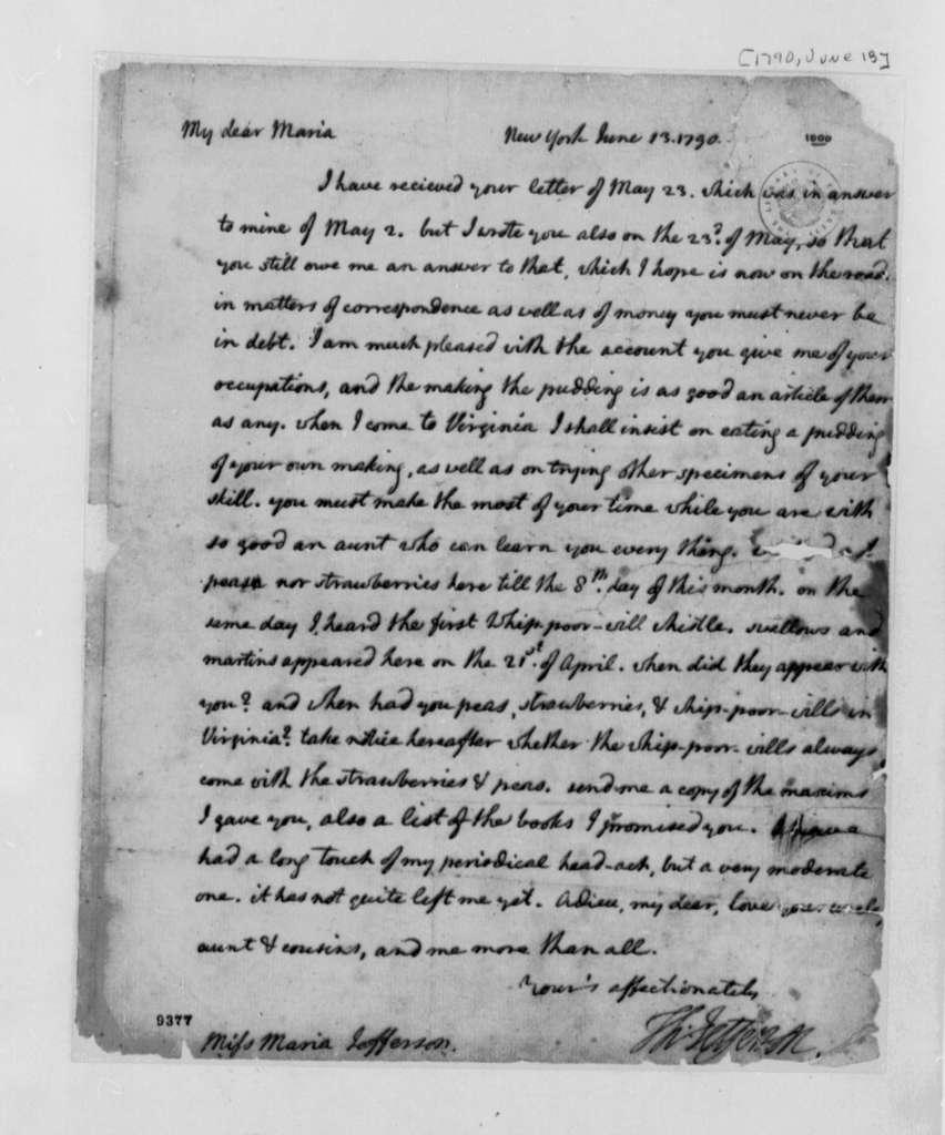 Thomas Jefferson to Mary Jefferson, June 13, 1790