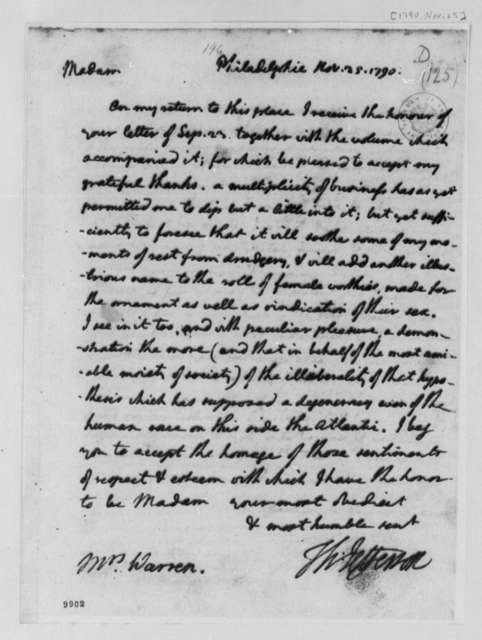 Thomas Jefferson to Mercy Otis Warren, November 25, 1790