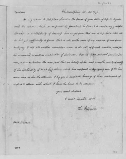 Thomas Jefferson to Mercy Otis Warren, November 25, 1790