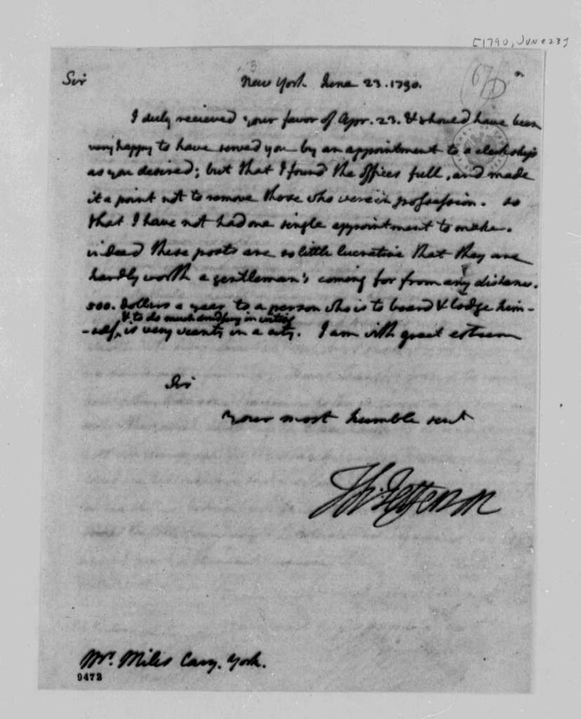 Thomas Jefferson to Miles Cary, June 23, 1790, with Copy