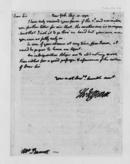 Thomas Jefferson to Nathaniel Barrett, August 11, 1790