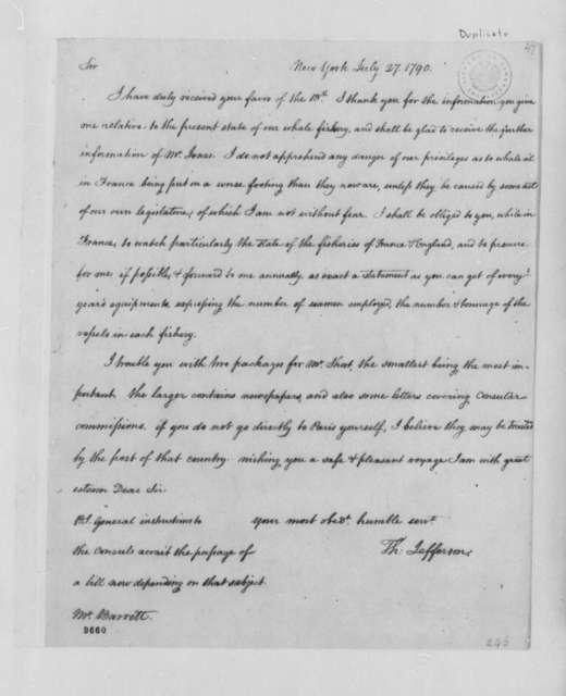 Thomas Jefferson to Nathaniel Barrett, July 27, 1790, with Copy