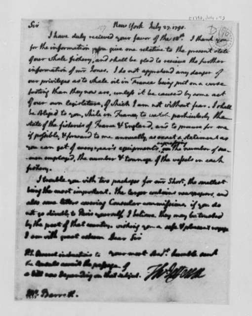 Thomas Jefferson to Nathaniel Barrett, July 27, 1790, with Copy