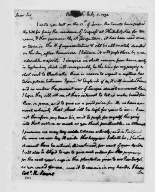 Thomas Jefferson to Nicholas Lewis, July 4, 1790