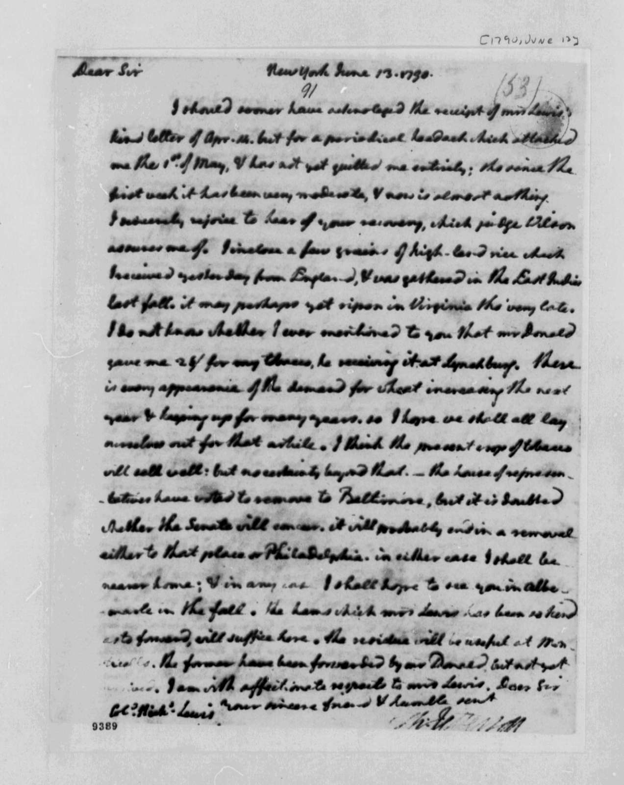 Thomas Jefferson to Nicholas Lewis, June 13, 1790