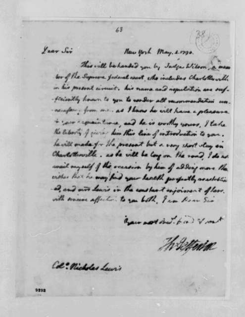 Thomas Jefferson to Nicholas Lewis, May 3, 1790