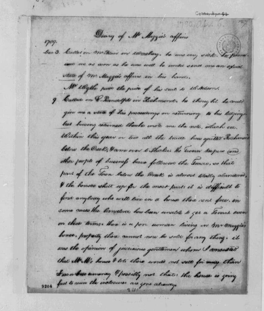 Thomas Jefferson to Phillip Mazzei, April 1790