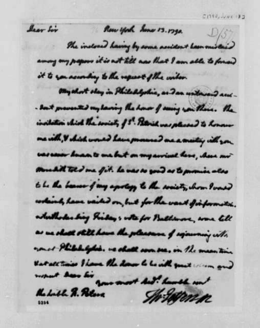 Thomas Jefferson to Richard Peters, June 13, 1790
