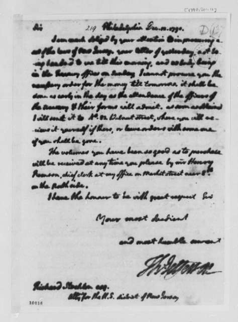 Thomas Jefferson to Richard Stockton, December 12, 1790, with Copy