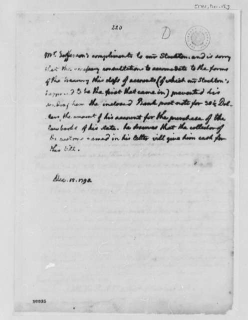 Thomas Jefferson to Richard Stockton, December 15, 1790