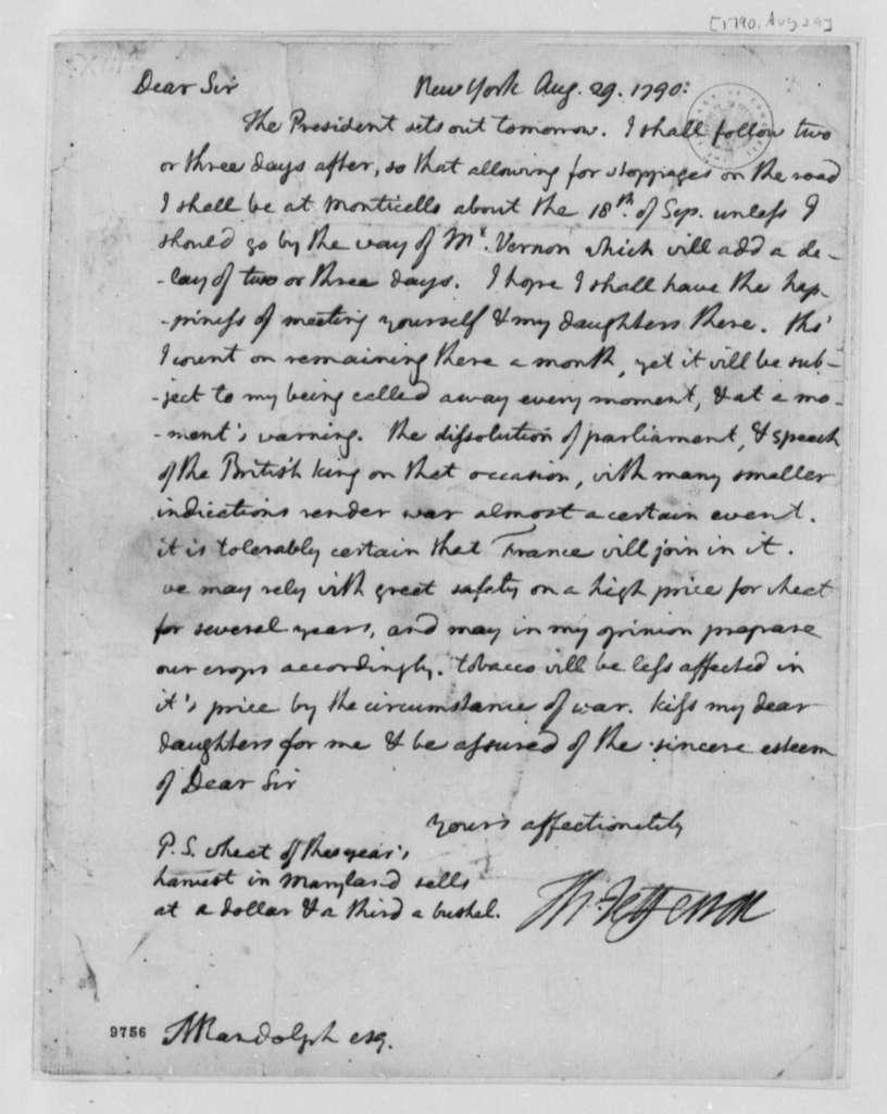 Thomas Jefferson to Thomas Mann Randolph, Jr., August 29, 1790
