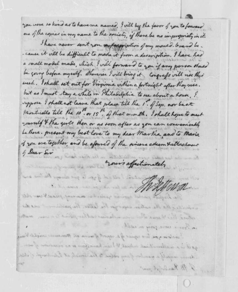 Thomas Jefferson to Thomas Mann Randolph, Jr., August 3, 1790