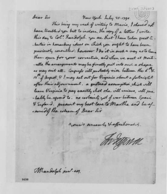 Thomas Jefferson to Thomas Mann Randolph, Jr., July 25, 1790