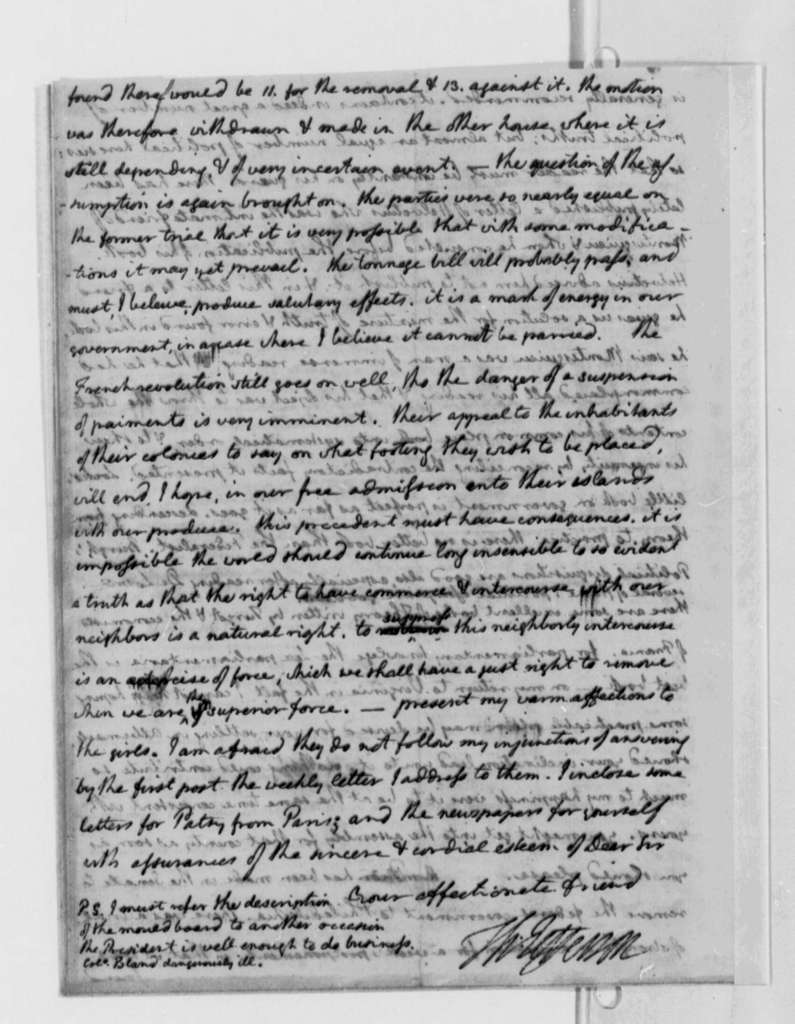 Thomas Jefferson to Thomas Mann Randolph, Jr., May 30, 1790, with Copy