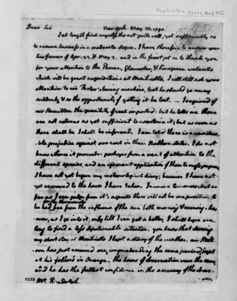 Thomas Jefferson to Thomas Mann Randolph, Jr., May 30, 1790, with Copy
