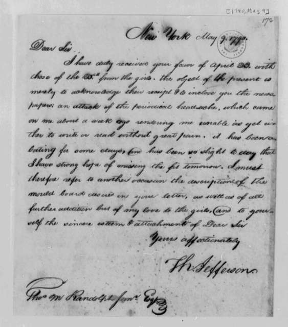 Thomas Jefferson to Thomas Mann Randolph, Jr., May 9, 1790