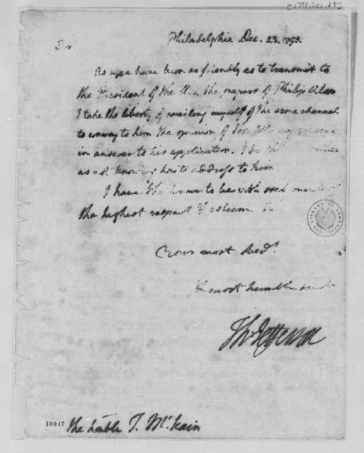 Thomas Jefferson to Thomas McKean, December 23, 1790