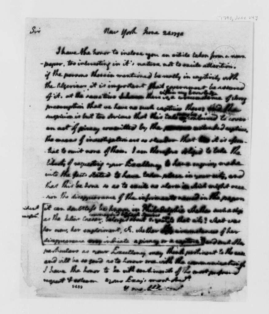 Thomas Jefferson to Thomas Mifflin, June 24, 1790