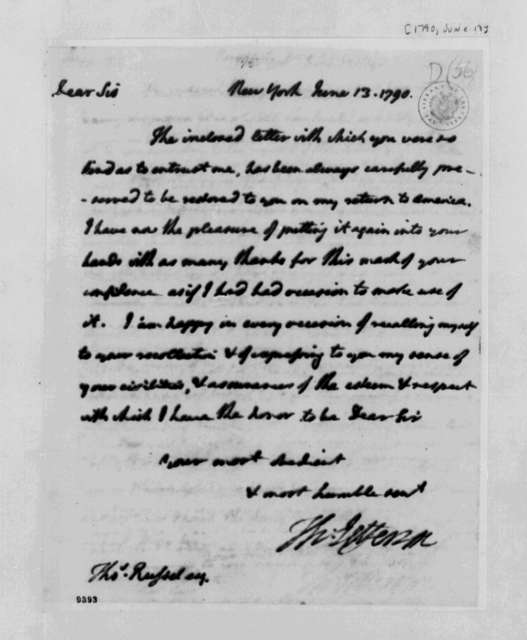 Thomas Jefferson to Thomas Russell, June 13, 1790