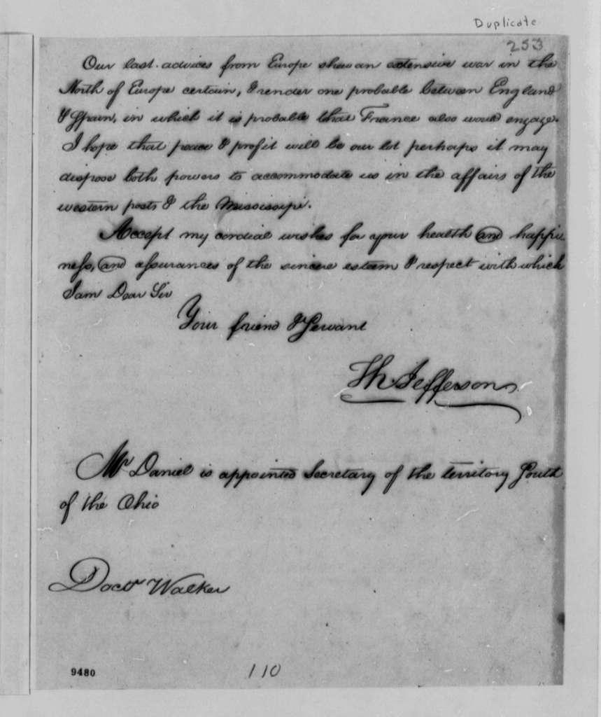 Thomas Jefferson to Thomas Walker, June 23, 1790, with Copy