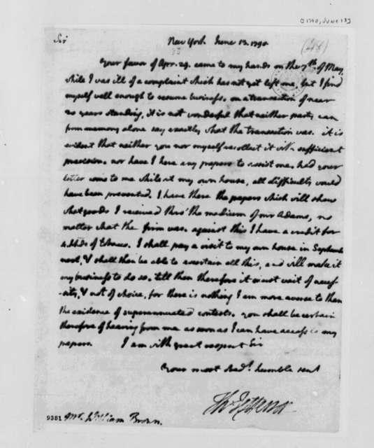 Thomas Jefferson to William Brown, June 13, 1790