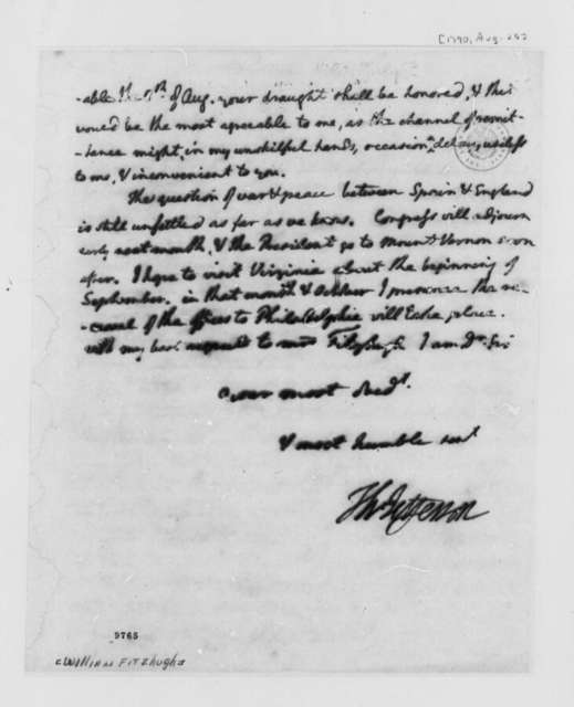 Thomas Jefferson to William Fitzhugh, August 25, 1790, Fragment