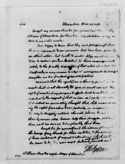 Thomas Jefferson to William Hunter, March 11, 1790