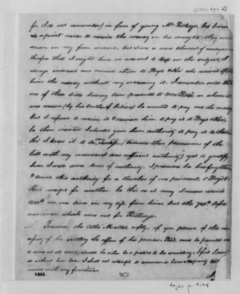 Thomas Jefferson to William Short, April 6, 1790, with Copy Fragment