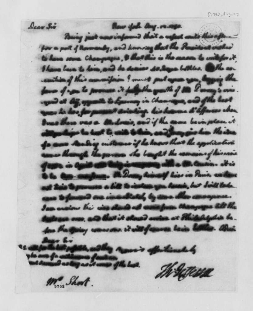 Thomas Jefferson to William Short, August 12, 1790