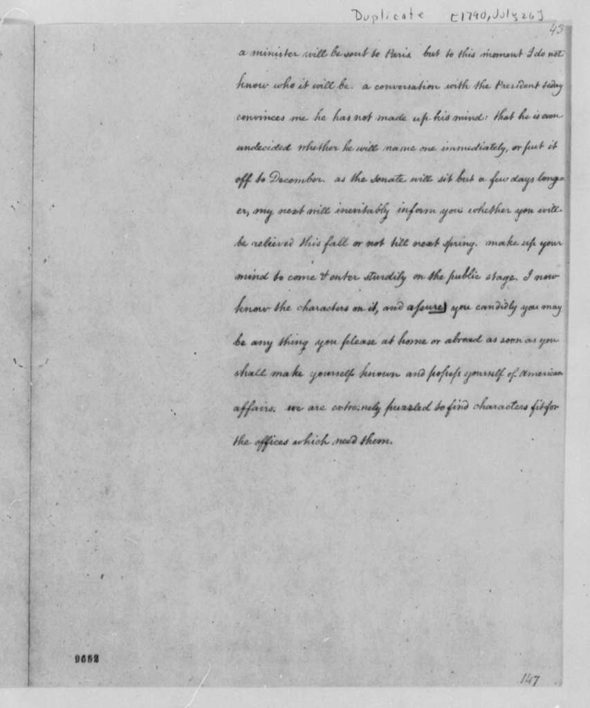 Thomas Jefferson to William Short, July 26, 1790, with Copy and Note