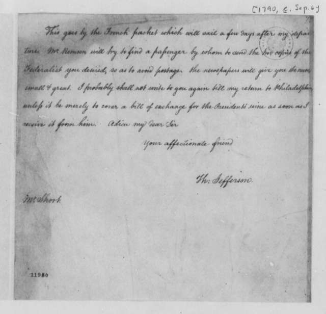 Thomas Jefferson to William Short, September 6, 1790