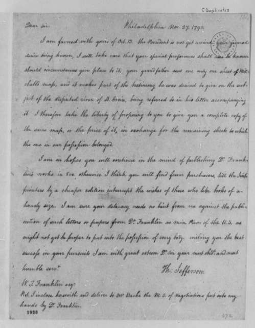 Thomas Jefferson to William Temple Franklin, November 27, 1790