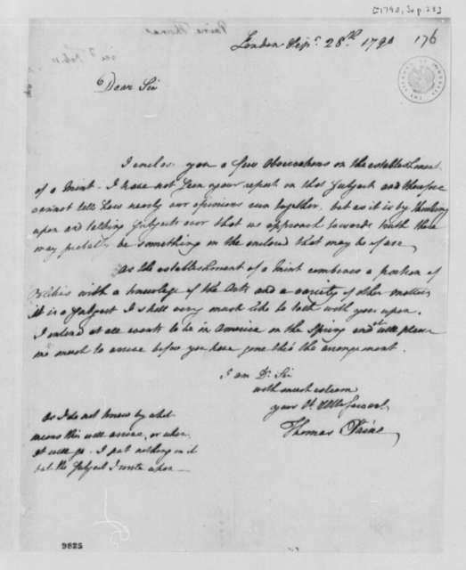Thomas Paine to Thomas Jefferson, September 28, 1790
