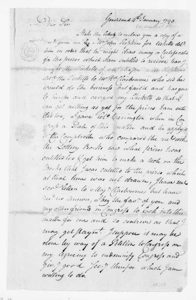 Thomas Underwood to James Madison, January 4, 1790.