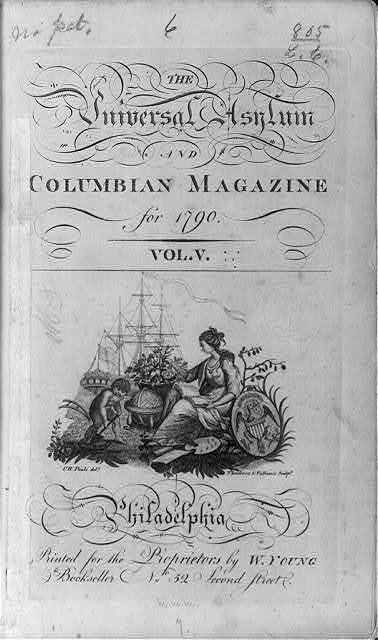 [Title page engraved vignette: allegory of America resting her shield to engage in art, education, agriculture, and naval commerce]