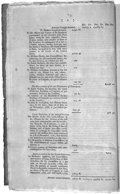 Treasury Department, March 1, 1790. Pursuant to the Act for establishing the Treasury department, the Secretary of the Treasury respectfully reports to the House of representatives, that in addition to the estimate for the service of the current