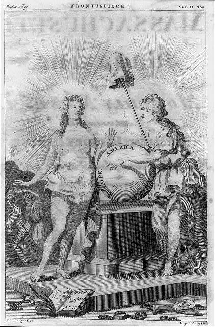 [Two female figures celebrating the birth of America among the family of nations] / G. Gallager, del. ; engrav'd by S. Hill.