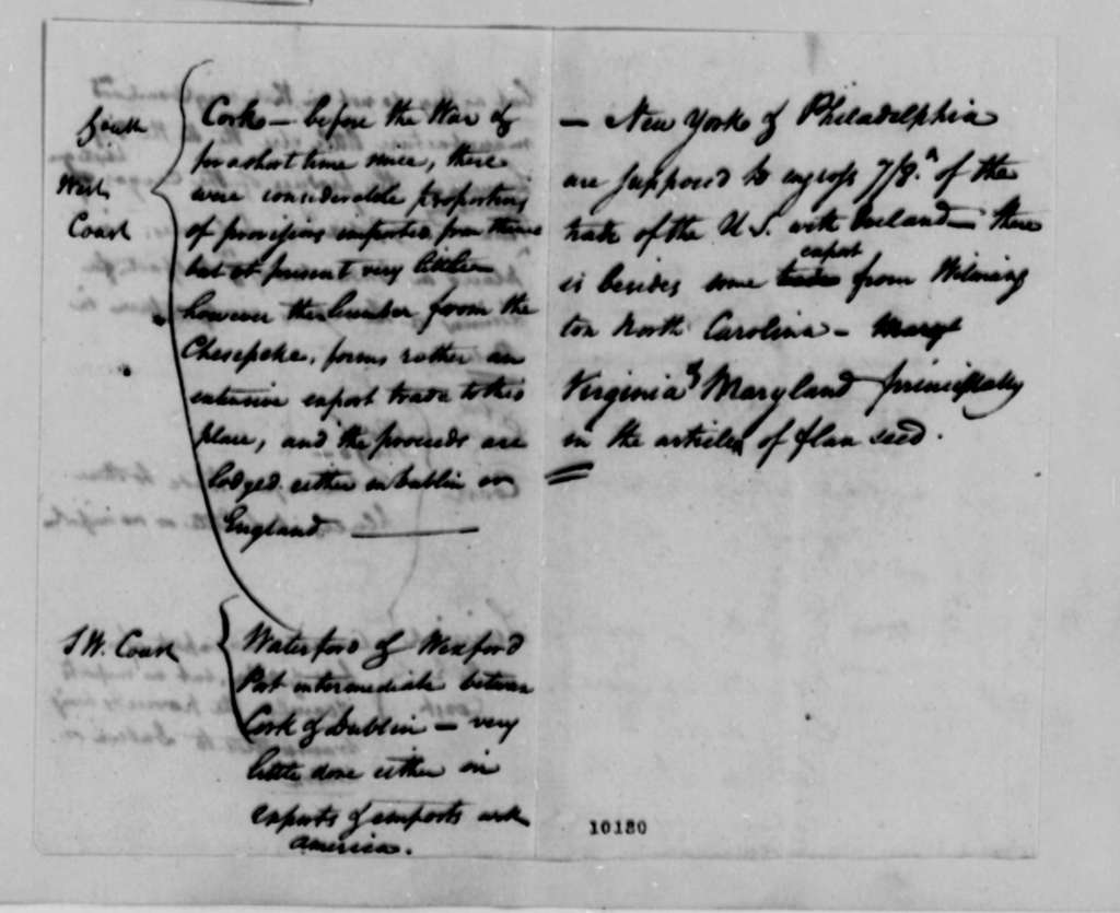 United States Commerce, 1790, Notes on Irish Trade