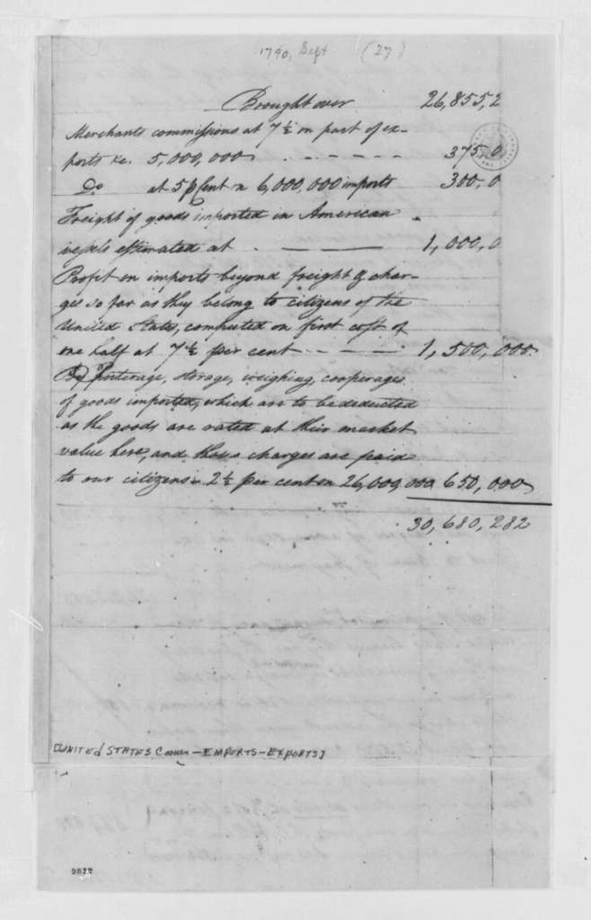 United States Commerce, September 1790, Report on Imports and Exports