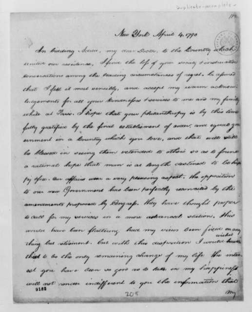 Unknown to Thomas Jefferson, April 4, 1790, Incomplete