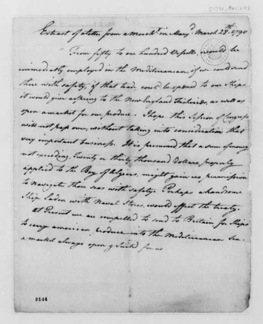 Unknown to William Brown, March 28, 1790, Extract