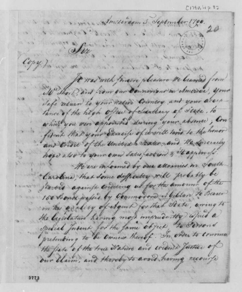 Van Staphorst & Hubbard to Thomas Jefferson, September 3, 1790