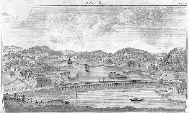 View of the bridge over Mystic River & the contry adjacent from Bunker's Hill / engraved by S. Hill.